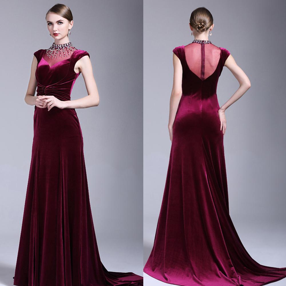 صورة فساتين قطيفة سهرة , اجمل التصميمات لفساتين السهرة القطيفة بالصور